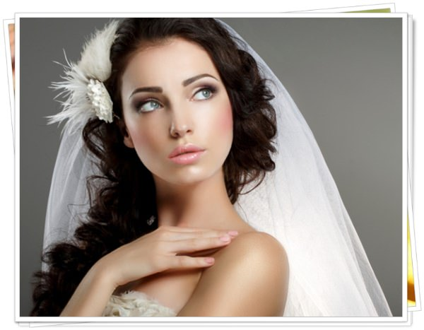 Wedding. Young Gentle Quiet Bride in White Veil Looking Away